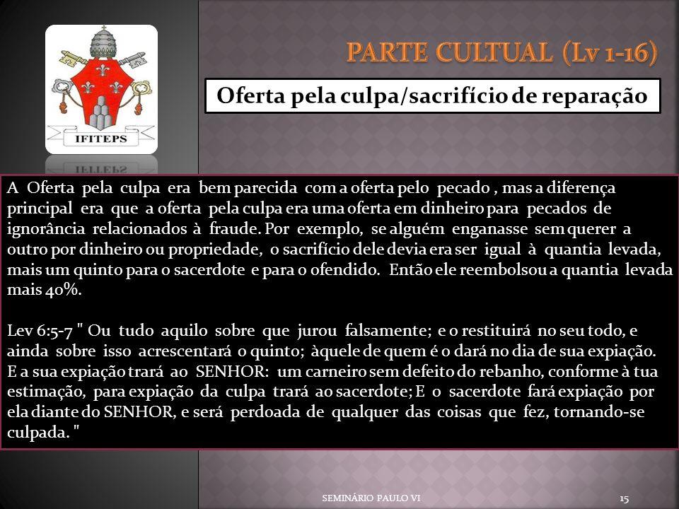 PARTE CULTUAL (Lv 1-16) Oferta pela culpa/sacrifício de reparação