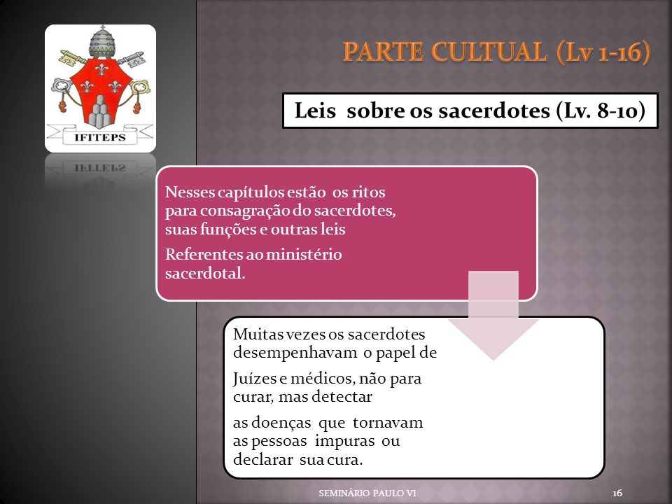 PARTE CULTUAL (Lv 1-16) Leis sobre os sacerdotes (Lv. 8-10)