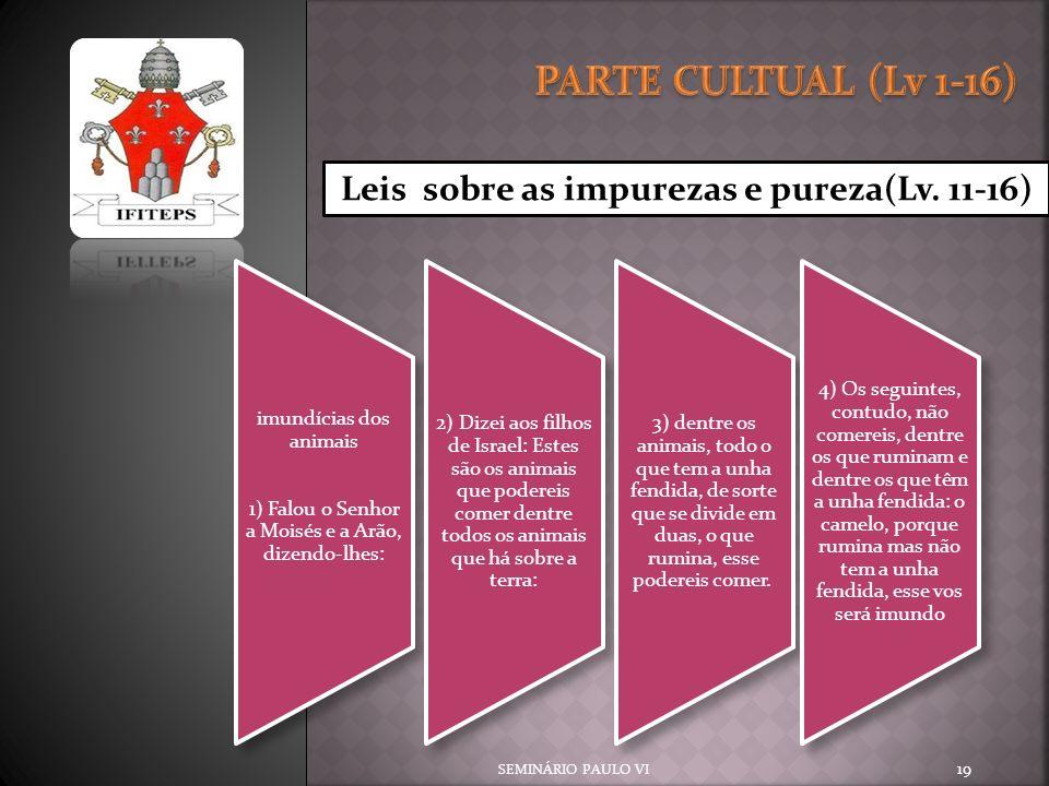 PARTE CULTUAL (Lv 1-16) Leis sobre as impurezas e pureza(Lv. 11-16)