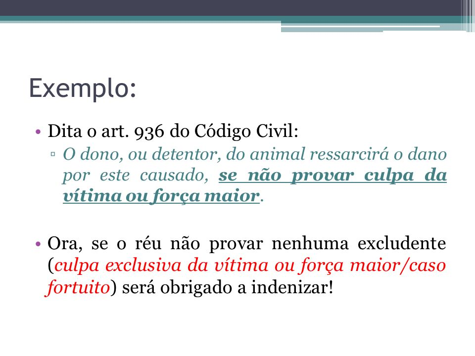 Exemplo: Dita o art. 936 do Código Civil: