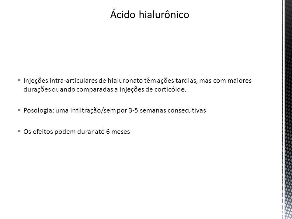 Ácido hialurônico Injeções intra-articulares de hialuronato têm ações tardias, mas com maiores durações quando comparadas a injeções de corticóide.