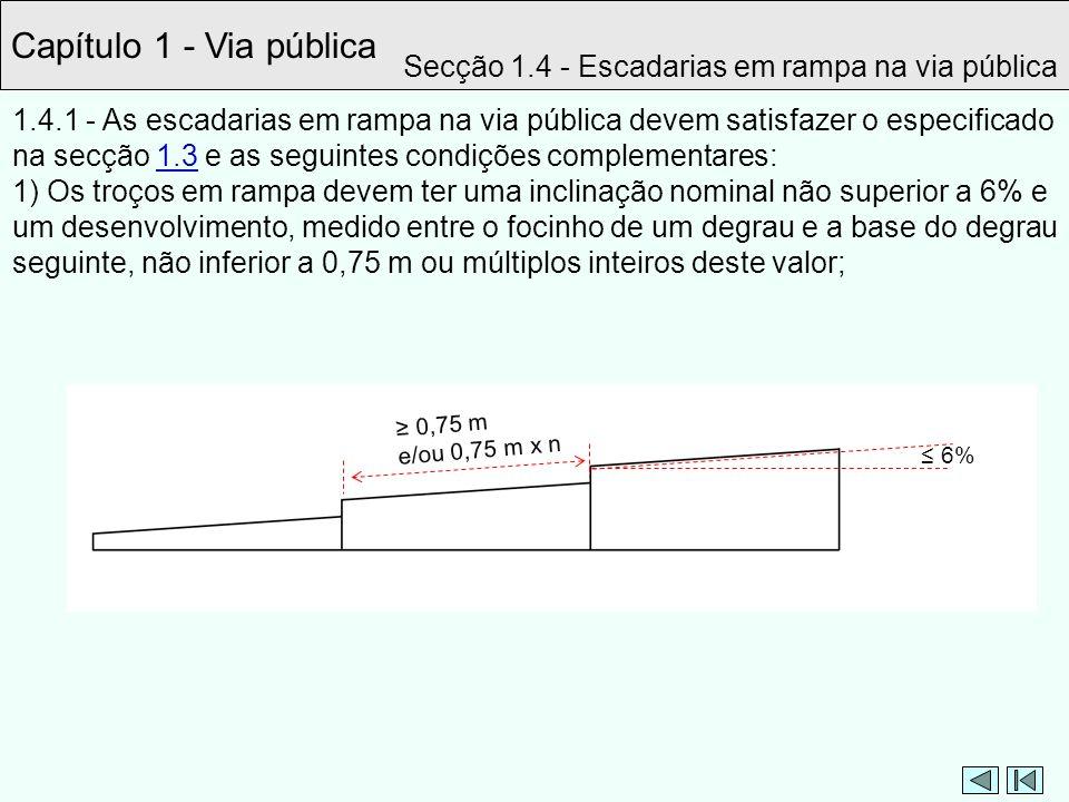 Capítulo 1 - Via pública Secção 1.4 - Escadarias em rampa na via pública.
