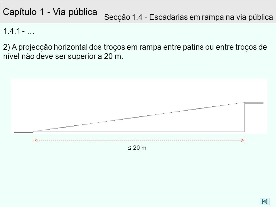 Capítulo 1 - Via pública Secção 1.4 - Escadarias em rampa na via pública. 1.4.1 - …