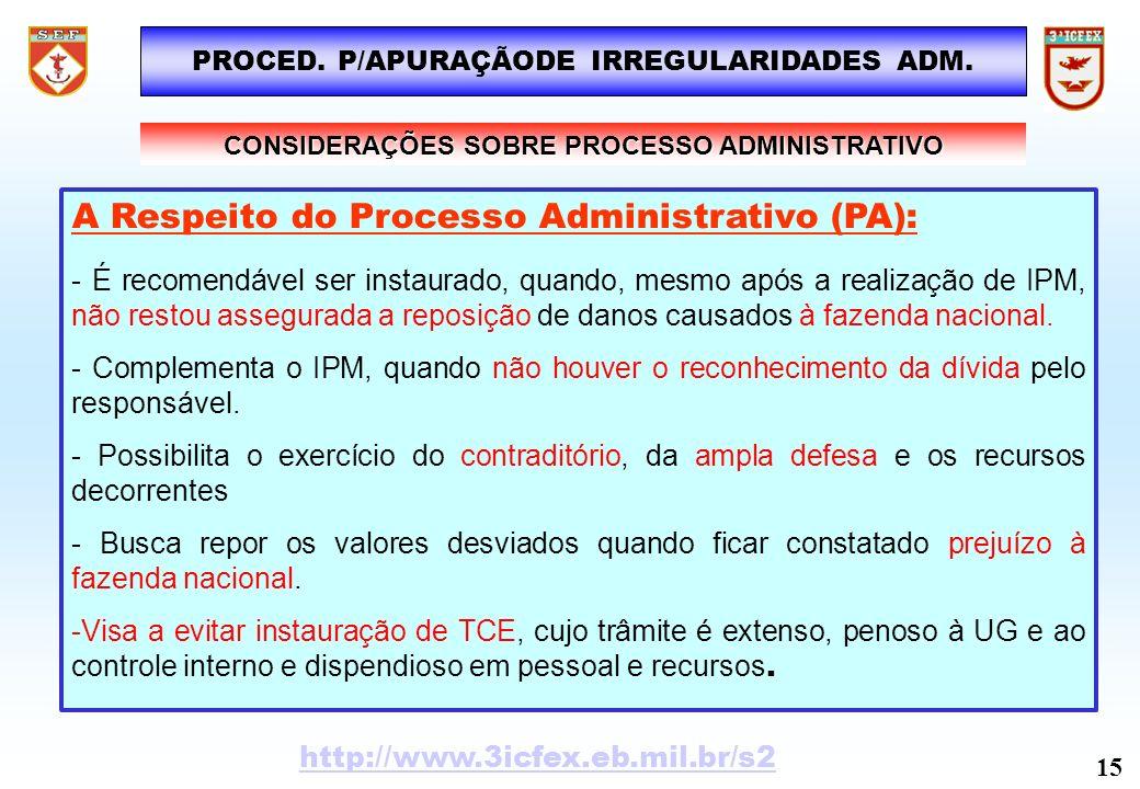 CONSIDERAÇÕES SOBRE PROCESSO ADMINISTRATIVO