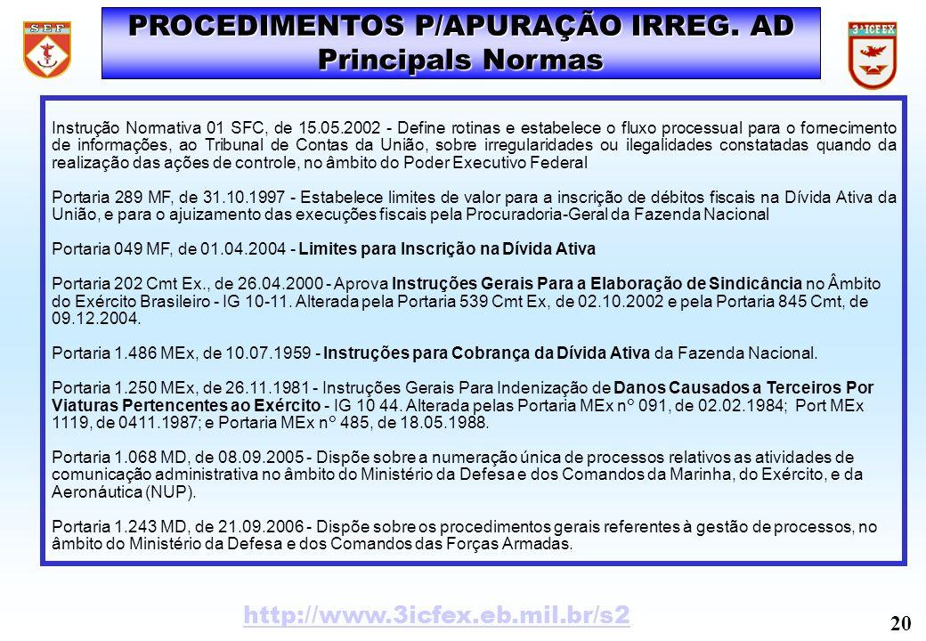 PROCEDIMENTOS P/APURAÇÃO IRREG. AD