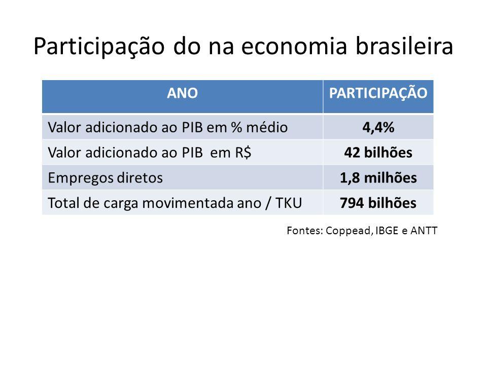 Participação do na economia brasileira