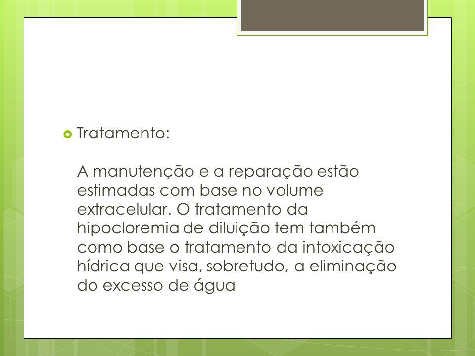 Tratamento: A manutenção e a reparação estão estimadas com base no volume extracelular.