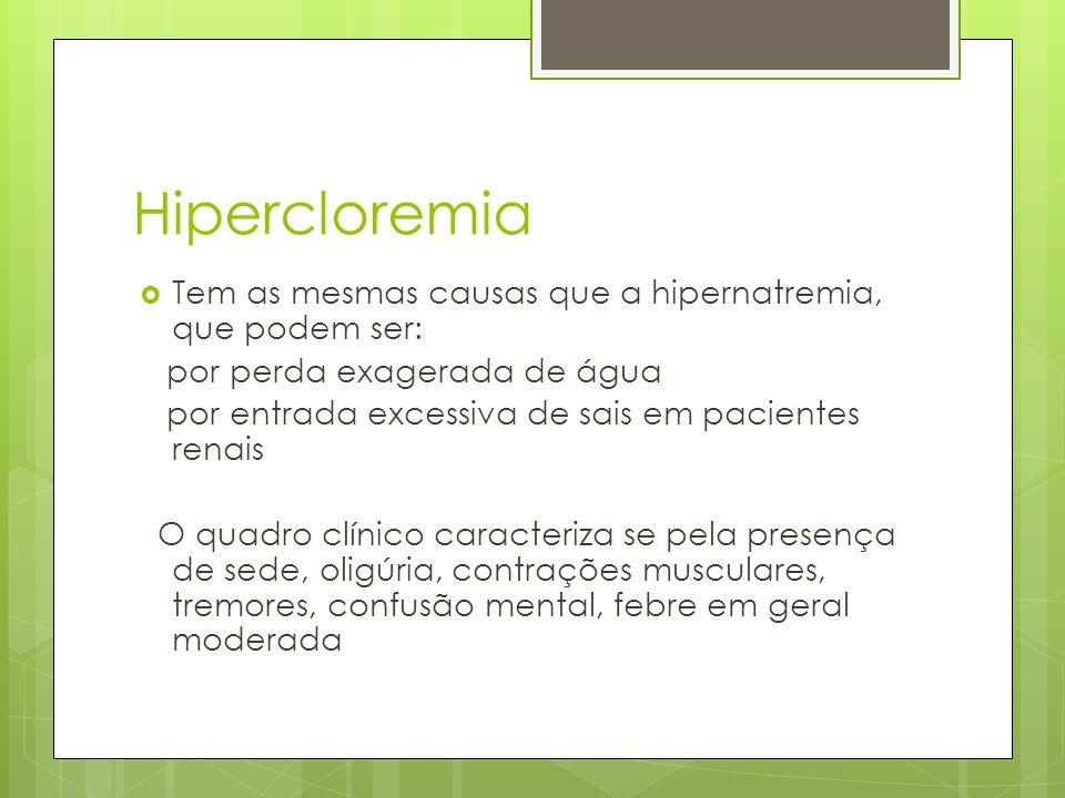 Hipercloremia Tem as mesmas causas que a hipernatremia, que podem ser: