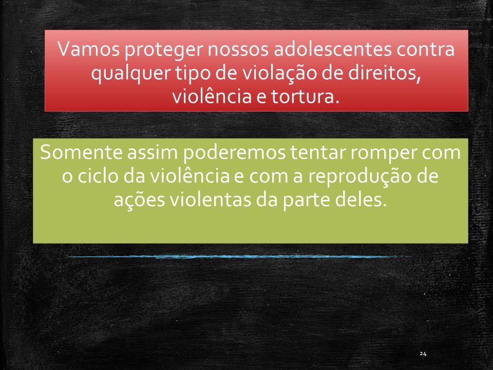 Vamos proteger nossos adolescentes contra qualquer tipo de violação de direitos, violência e tortura.