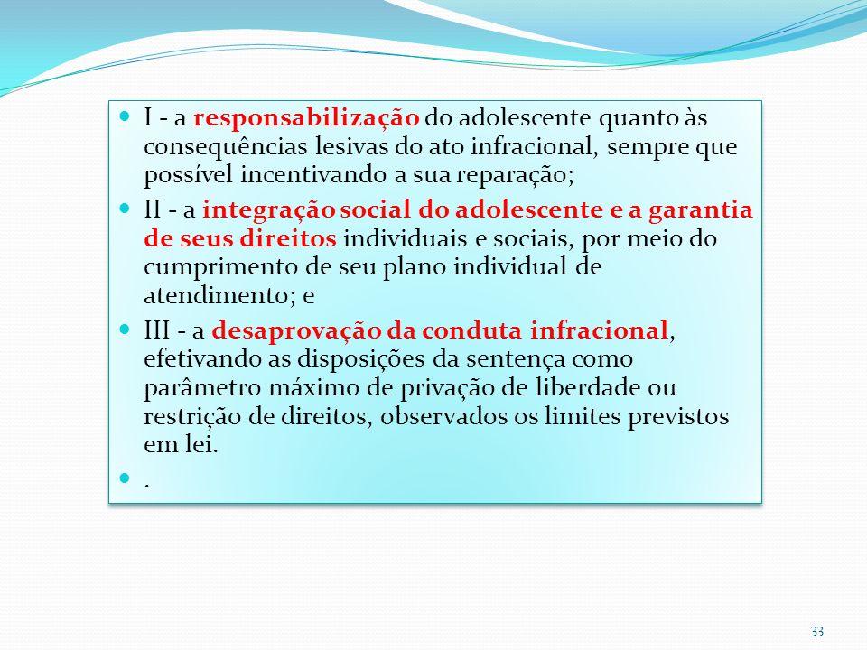 I - a responsabilização do adolescente quanto às consequências lesivas do ato infracional, sempre que possível incentivando a sua reparação;