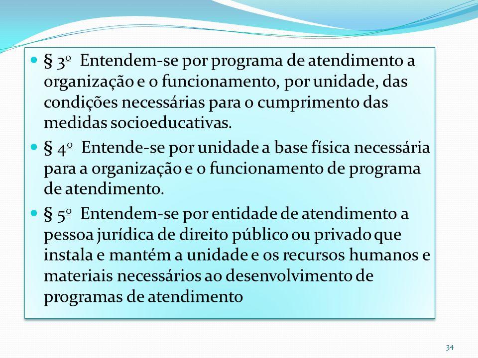 § 3o Entendem-se por programa de atendimento a organização e o funcionamento, por unidade, das condições necessárias para o cumprimento das medidas socioeducativas.