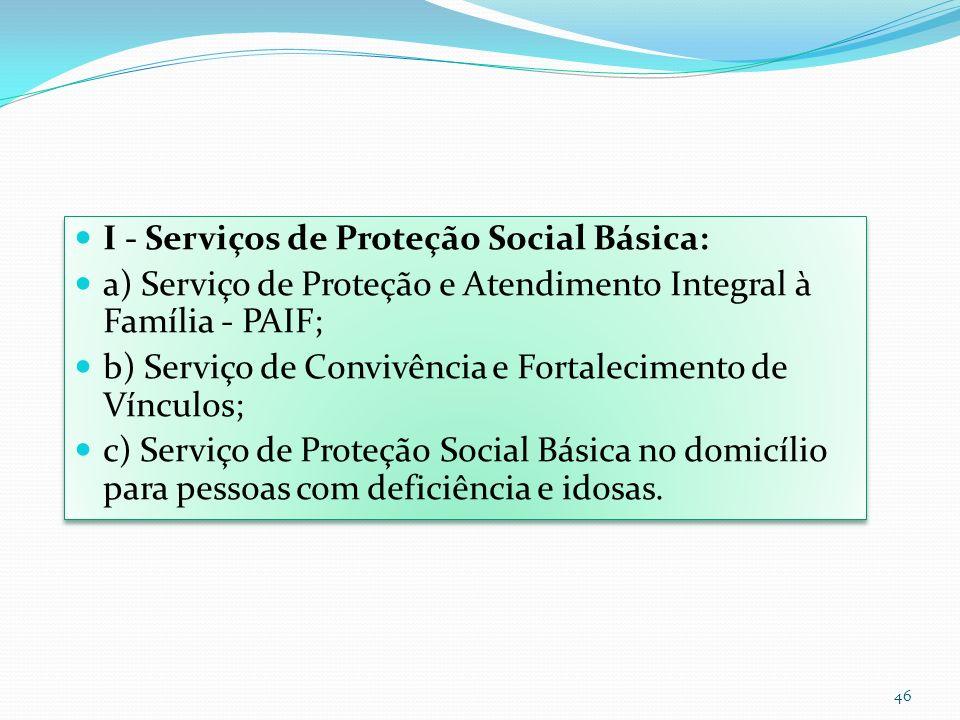 I - Serviços de Proteção Social Básica: