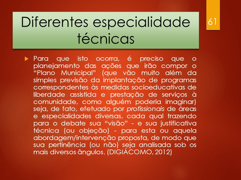 Diferentes especialidade técnicas