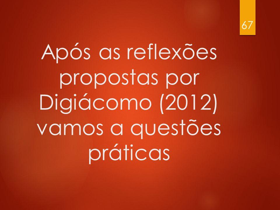 Após as reflexões propostas por Digiácomo (2012) vamos a questões práticas