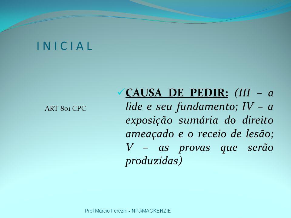 I N I C I A L ART 801 CPC.