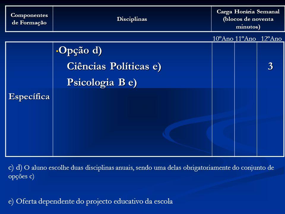 Opção d) Ciências Políticas e) Psicologia B e) 3 Específica