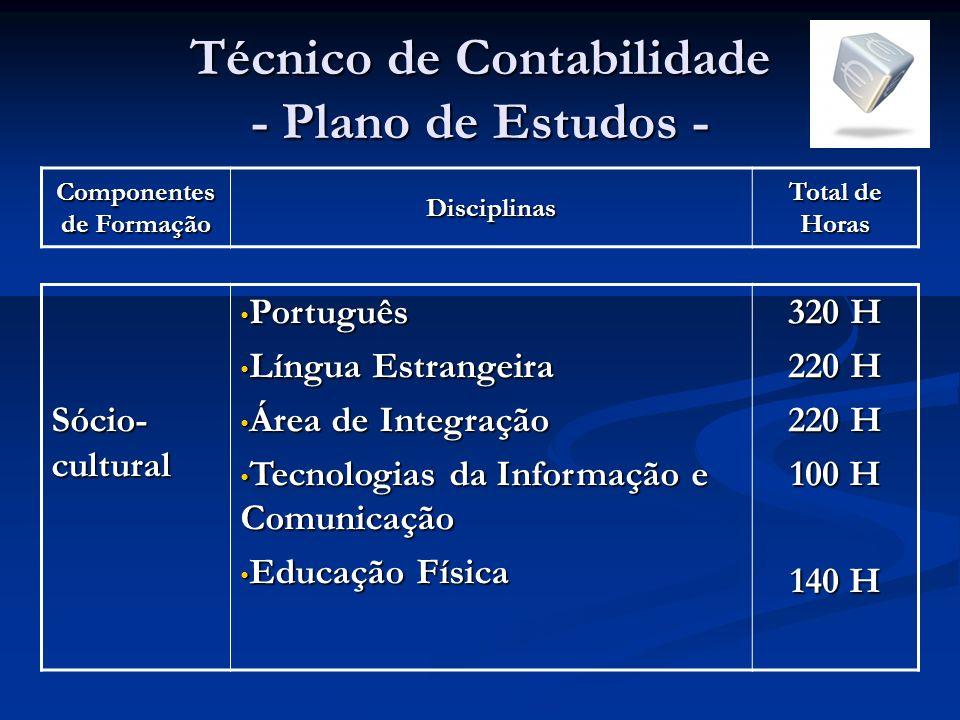 Técnico de Contabilidade - Plano de Estudos -