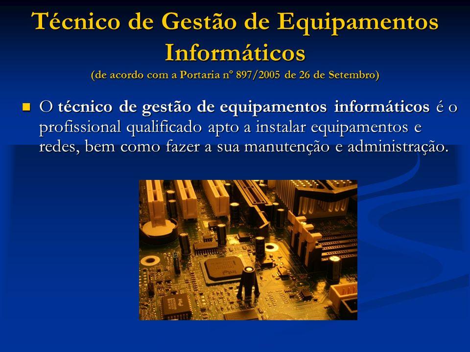 Técnico de Gestão de Equipamentos Informáticos (de acordo com a Portaria nº 897/2005 de 26 de Setembro)