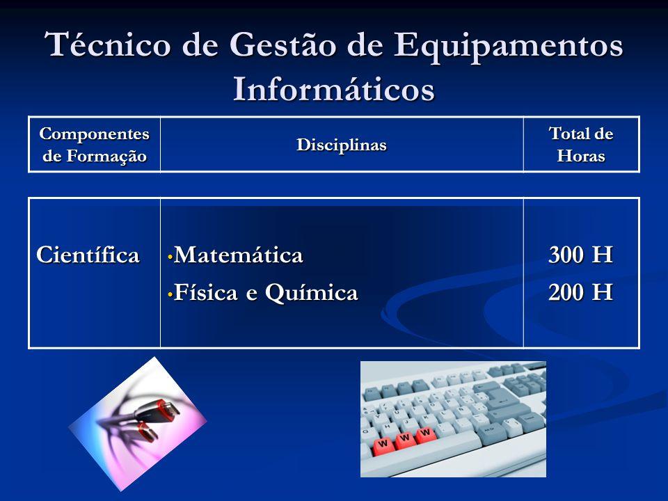 Técnico de Gestão de Equipamentos Informáticos Componentes de Formação