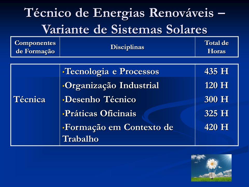 Técnico de Energias Renováveis – Variante de Sistemas Solares