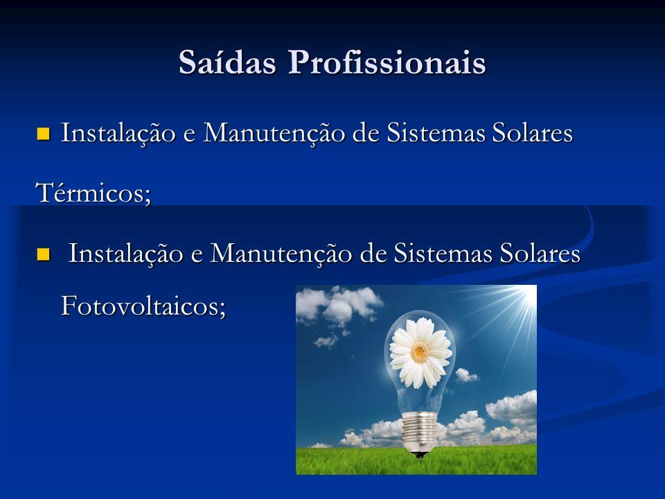 Saídas Profissionais Instalação e Manutenção de Sistemas Solares
