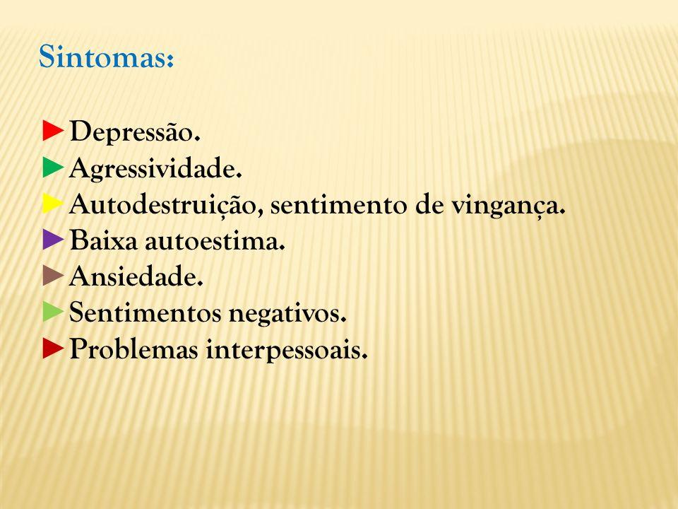Sintomas: ►Depressão. ►Agressividade.