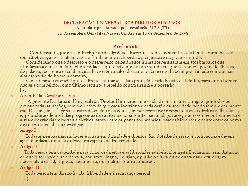 Preâmbulo Assembléia Geral proclama