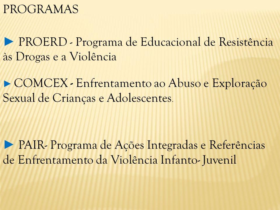 ► PROERD - Programa de Educacional de Resistência às Drogas e a Violência
