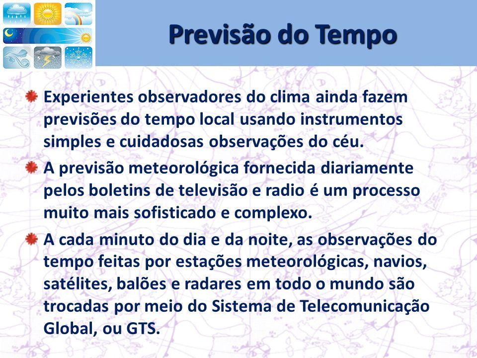 Previsão do Tempo Experientes observadores do clima ainda fazem previsões do tempo local usando instrumentos simples e cuidadosas observações do céu.