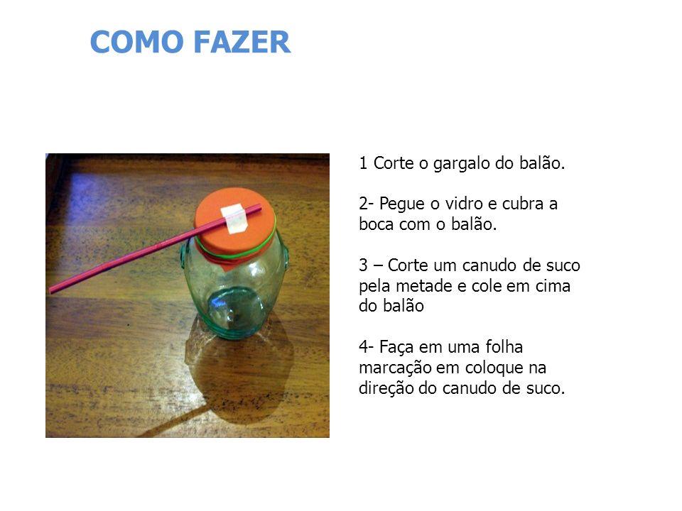 COMO FAZER 1 Corte o gargalo do balão. 2- Pegue o vidro e cubra a boca com o balão. 3 – Corte um canudo de suco pela metade e cole em cima do balão.