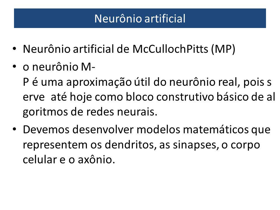 Neurônio artificial Neurônio artificial de McCulloch­Pitts (MP)