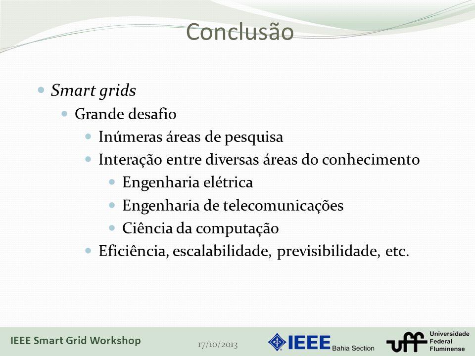 Conclusão Smart grids Grande desafio Inúmeras áreas de pesquisa