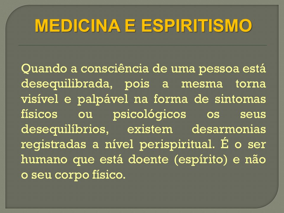 MEDICINA E ESPIRITISMO