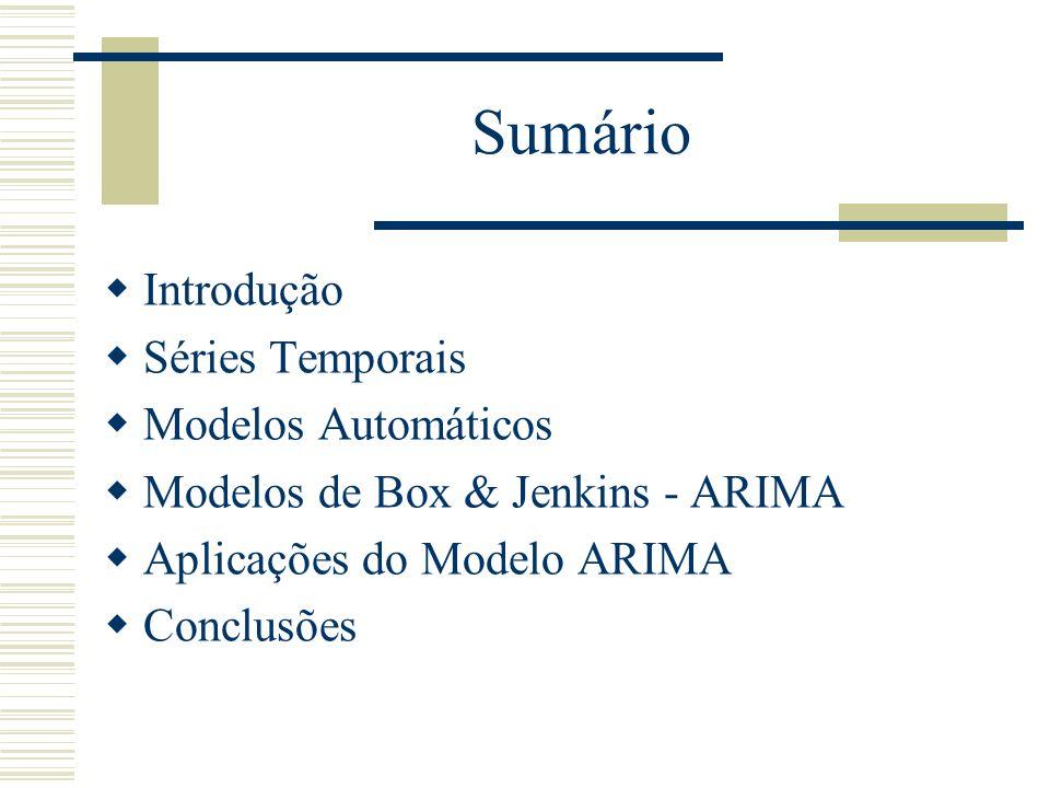 Sumário Introdução Séries Temporais Modelos Automáticos
