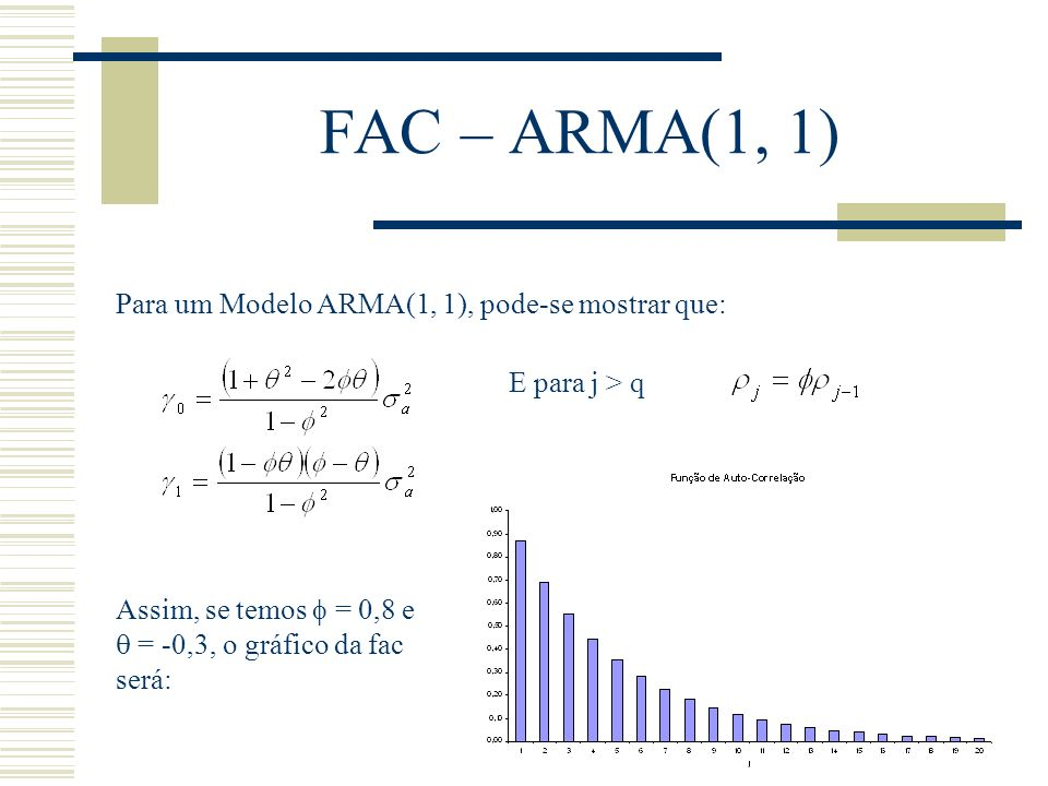 FAC – ARMA(1, 1) Para um Modelo ARMA(1, 1), pode-se mostrar que: