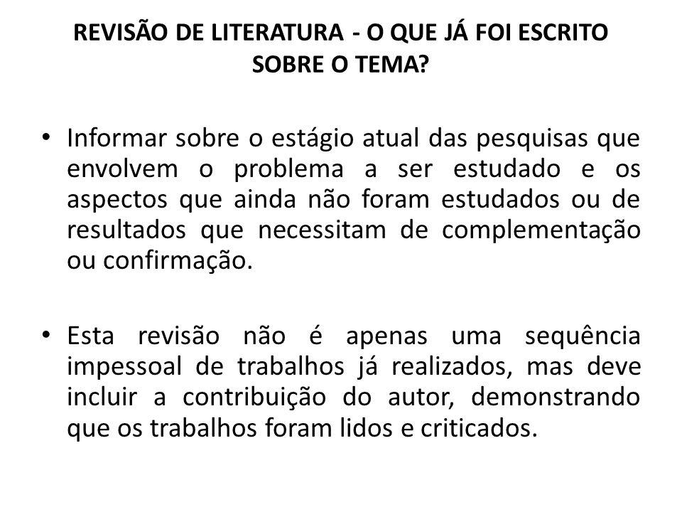 REVISÃO DE LITERATURA - O QUE JÁ FOI ESCRITO SOBRE O TEMA