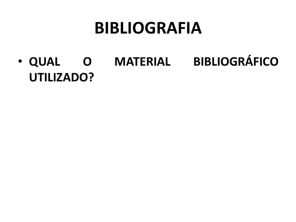 BIBLIOGRAFIA QUAL O MATERIAL BIBLIOGRÁFICO UTILIZADO