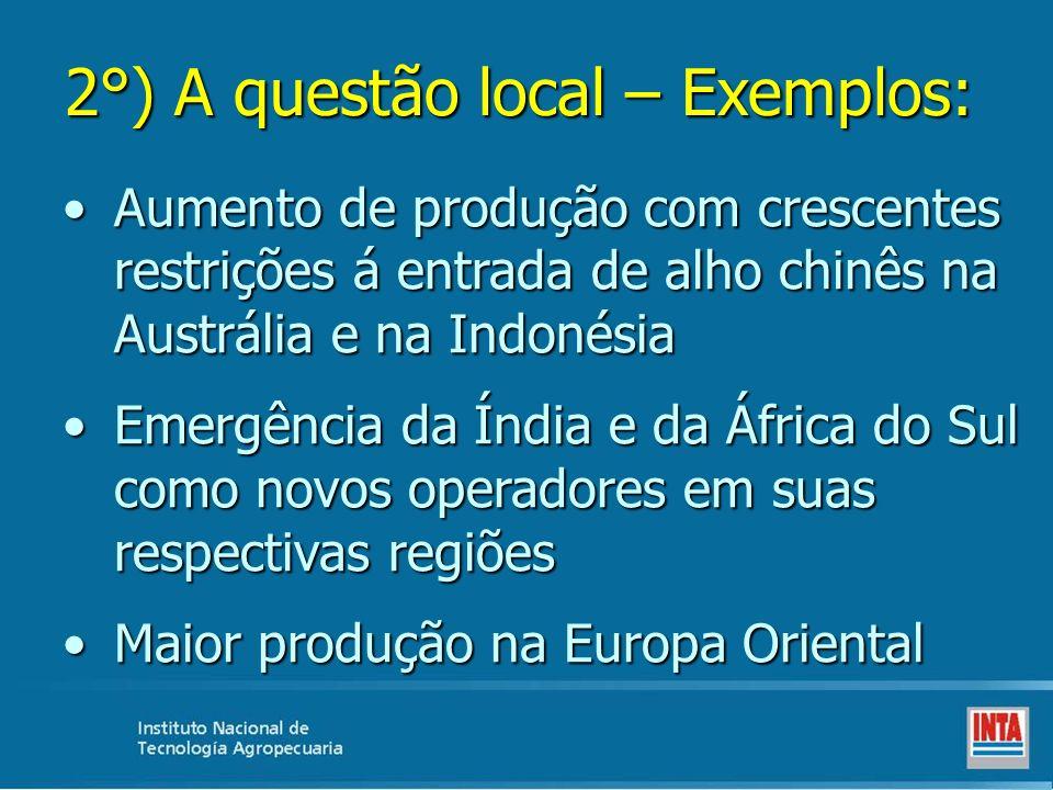 2°) A questão local – Exemplos: