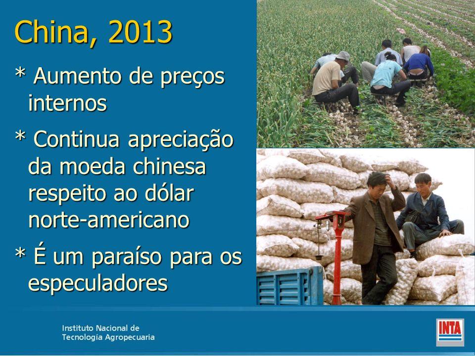 China, 2013 * Aumento de preços internos