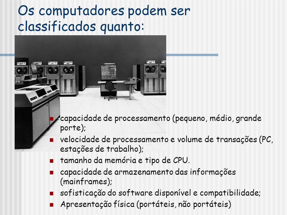 Os computadores podem ser classificados quanto: