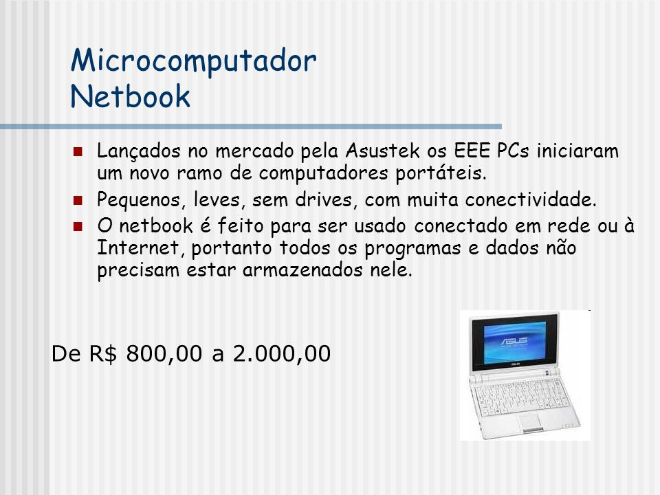 Microcomputador Netbook