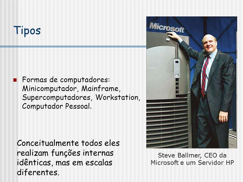 Steve Ballmer, CEO da Microsoft e um Servidor HP