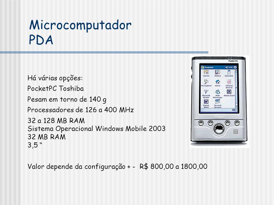 Microcomputador PDA Há várias opções: PocketPC Toshiba
