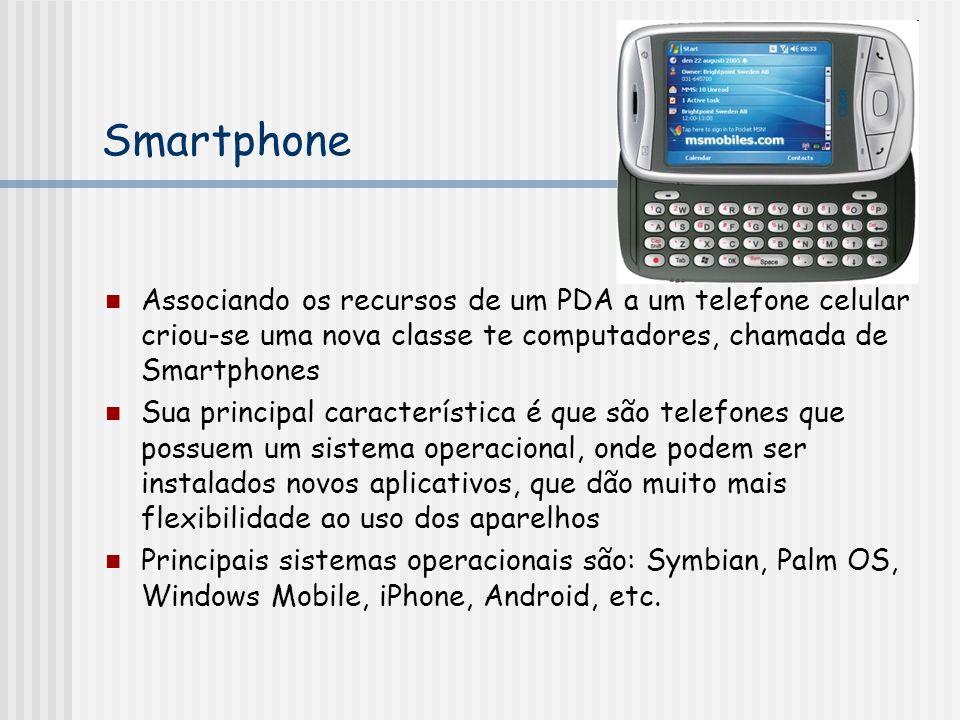 Smartphone Associando os recursos de um PDA a um telefone celular criou-se uma nova classe te computadores, chamada de Smartphones.
