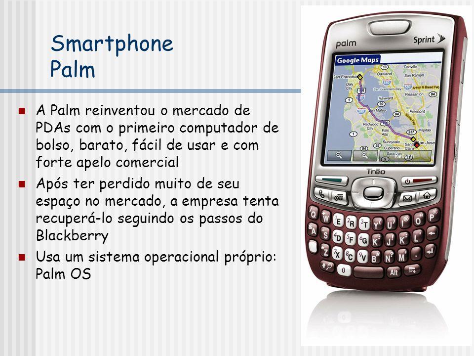 Smartphone Palm A Palm reinventou o mercado de PDAs com o primeiro computador de bolso, barato, fácil de usar e com forte apelo comercial.