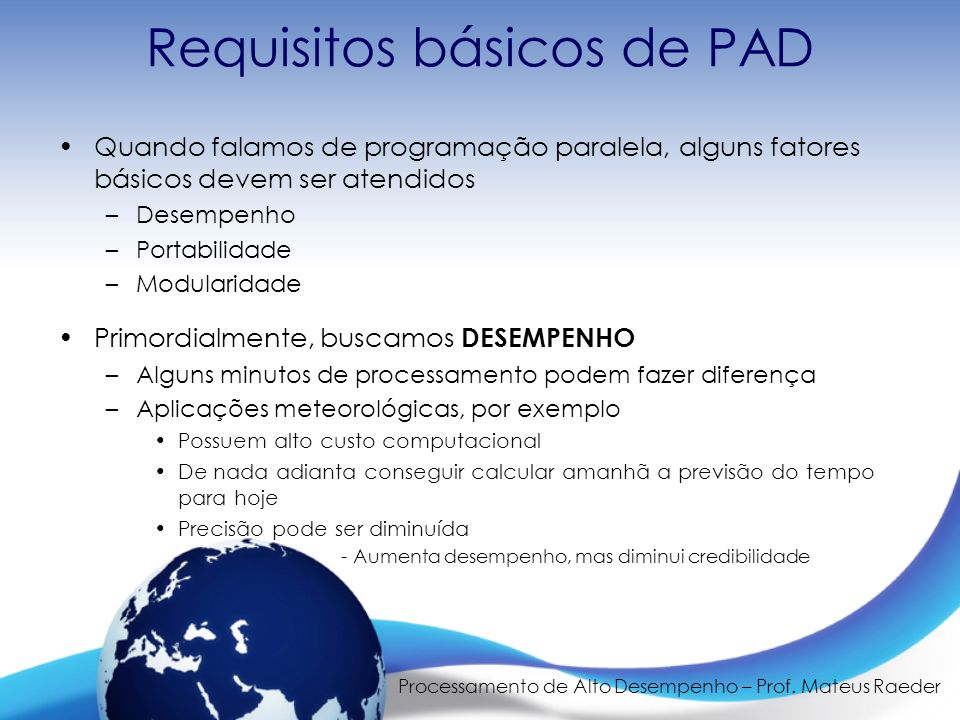 Requisitos básicos de PAD