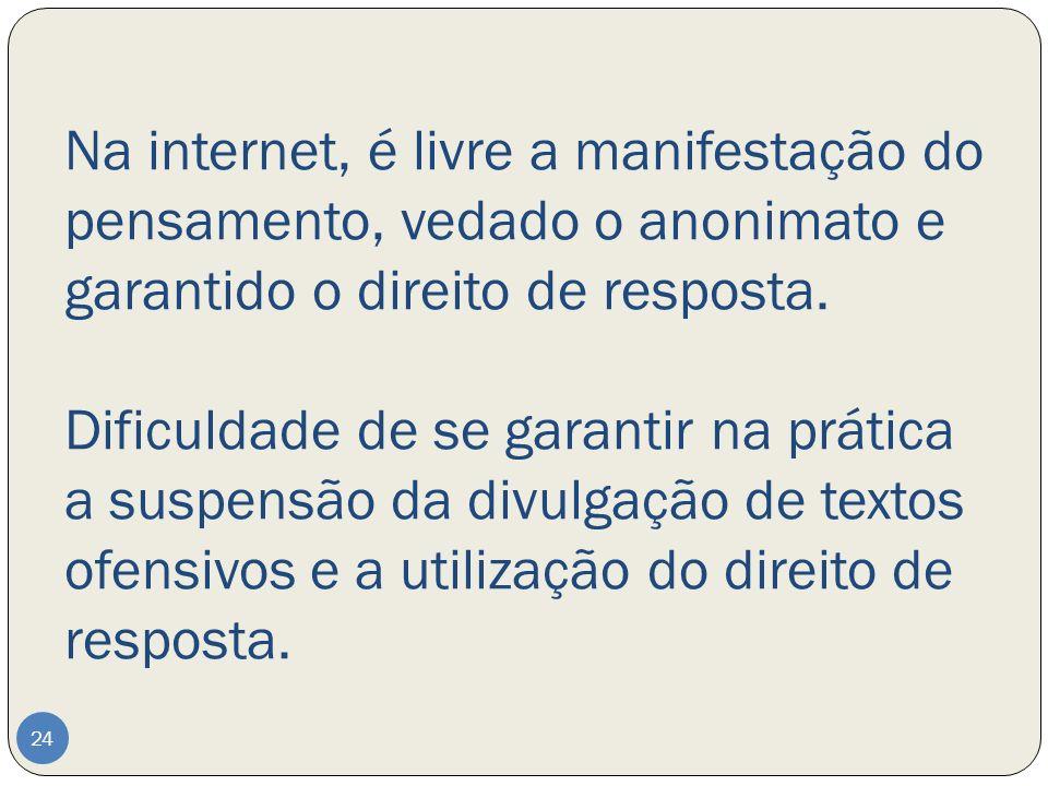 Na internet, é livre a manifestação do pensamento, vedado o anonimato e garantido o direito de resposta.