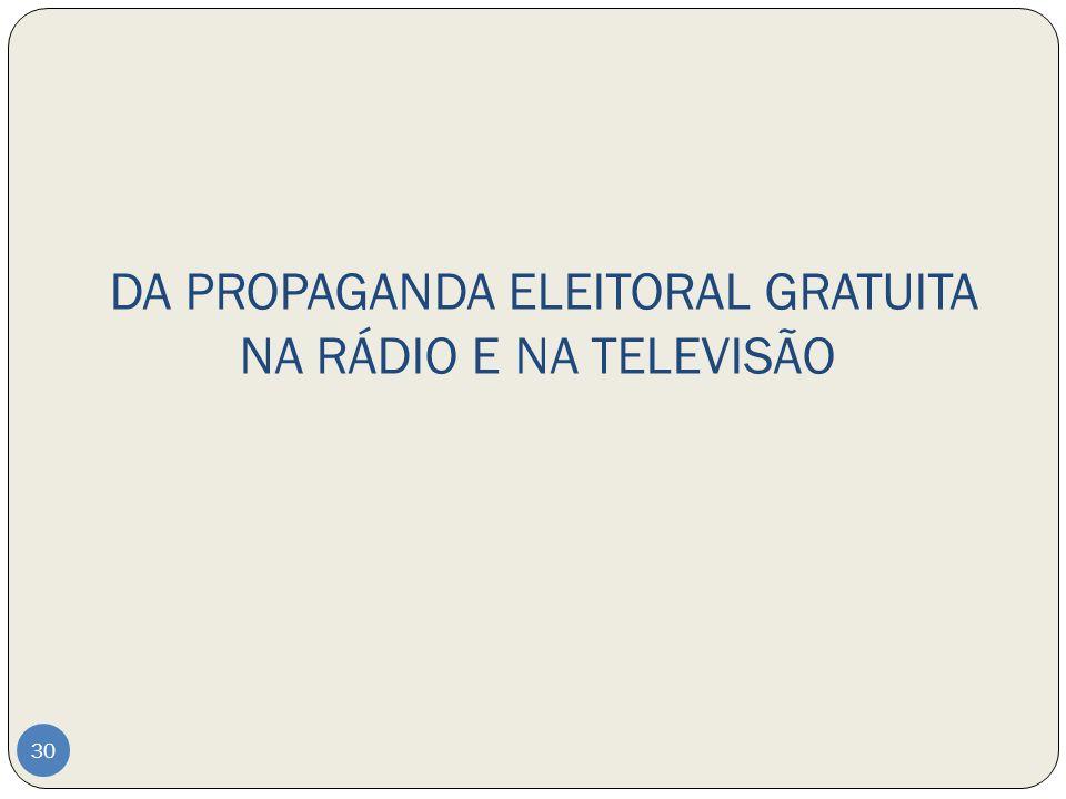 DA PROPAGANDA ELEITORAL GRATUITA NA RÁDIO E NA TELEVISÃO
