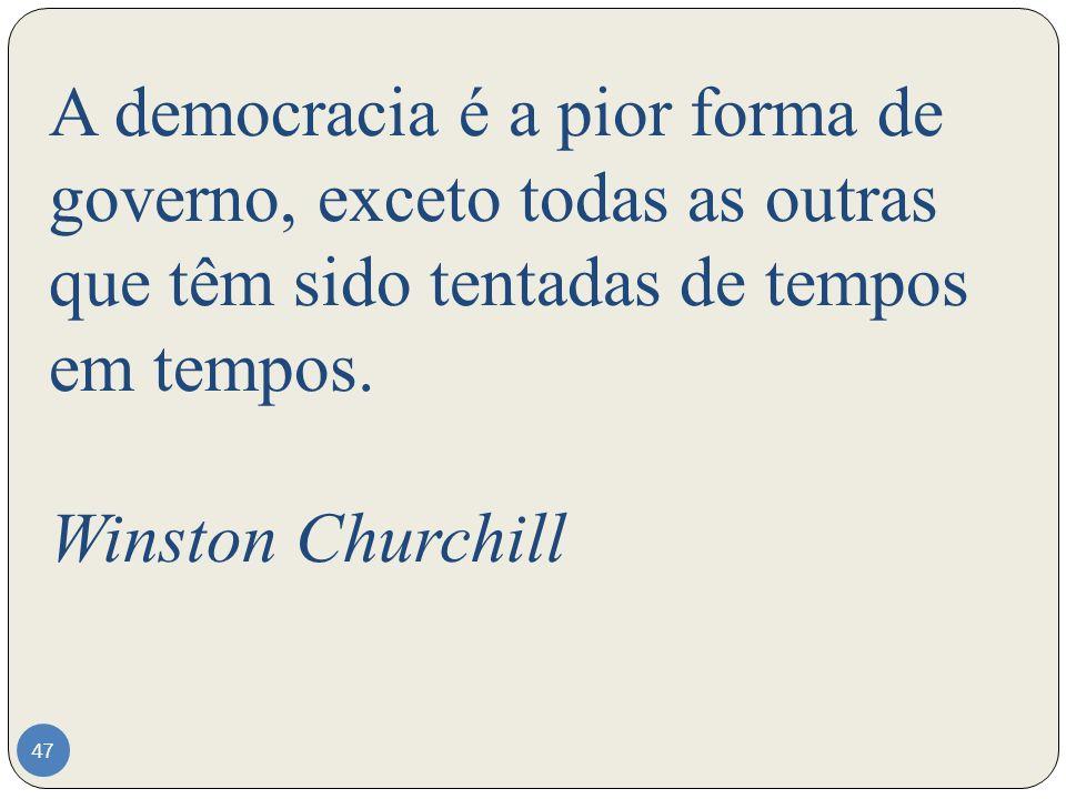 A democracia é a pior forma de governo, exceto todas as outras que têm sido tentadas de tempos em tempos.