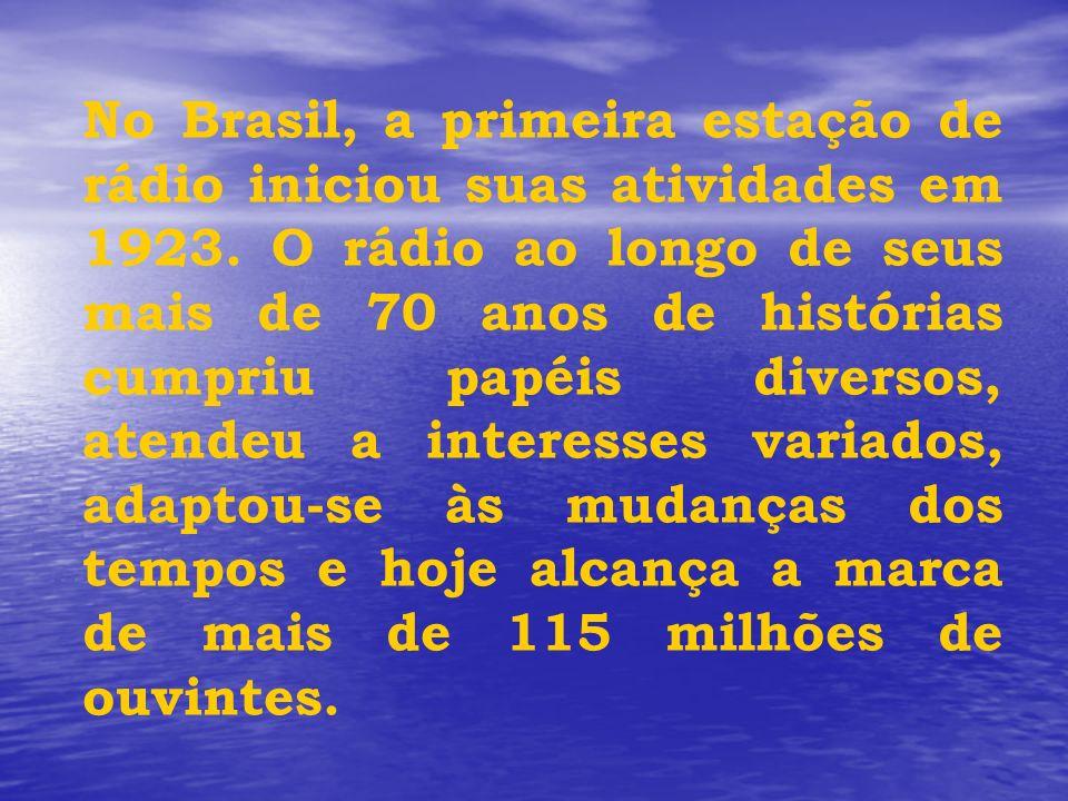 No Brasil, a primeira estação de rádio iniciou suas atividades em 1923